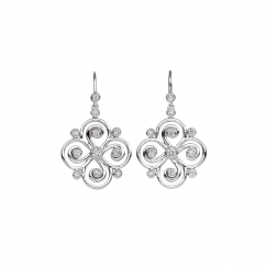 Arabesque Sterling Silver and Diamond Swirl Earrings
