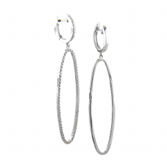 Sterling Silver and Diamond Oval Drop Earrings