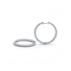 Sterling Silver and Diamond In/Out Hoop Earrings