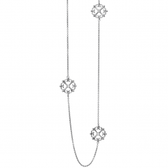 Arabesque Sterling Silver 36 inch Diamond Necklace