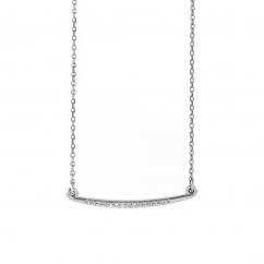 Sterling Silver and Diamond Curved Necklace