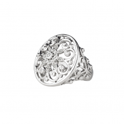 Arabesque Sterling Silver and Diamond Ring