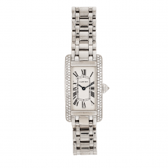 Pre-Owned 18k White Gold Cartier Tank Americane with Diamond Bezel