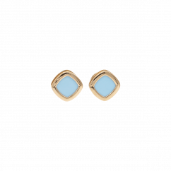 1970's 18k Rose Gold and Turquoise Stud Earrings
