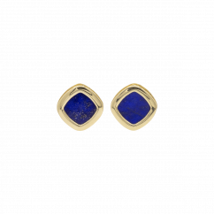 1970's 18k Yellow Gold and Lapis Stud Earrings