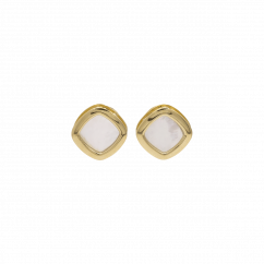 1970's 18k Yellow Gold and Mother of Pearl Stud Earrings