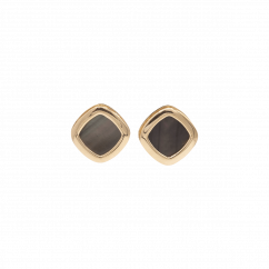 1970's 18k Rose Gold and Grey Mother of Pearl Stud Earrings